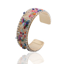 1 Pc Pinksee Elegant Small Stone Charms Crystal Wide Open Cuff Bangle Bracelet For Women Best Gifts 5 Colors