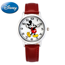 New women Mickey mouse pretty girl love gift charming leather quartz round watch female unbeatable price DISNEY 11027 hour Hot