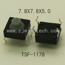 500pcs/lot 7.8X7.8X5mm 4PIN DIP Silicone Soundless Tact Push Button Micro Switch Momentary reset Long travel Button
