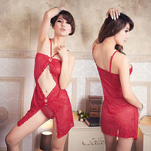 Energetic Red Diamante Bead Lace Babydoll Chemise Women Lingerie Nightie XS S M(China)