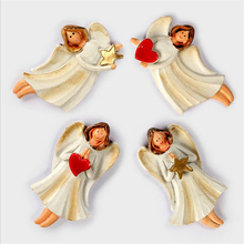 4pcs/pack Random Home Decoration Romantic Love Heart & Star Angel Cartoon Resin Stereoscopic Refrigerator Magnets Fly Girls Gift