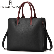 Herald Fashion PU Leather Women's Handbags PU Leather Female Handbags Designer Casual Tote Luxury Solid Lady's Crossbody Bags(China)