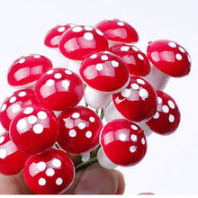 HOT 10Pcs Mini Red Mushroom Garden Ornament Miniature Plant Pots Fairy DIY Dollhouse(China)