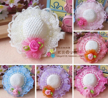 2016 lovely hat hair clip pearls Roses pet headdress dog hairpin  pet grooming  accessories10pcs/lot