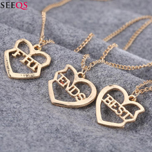 SEEQS Creative 3 Pieces Love Heart Pendant Necklace for Women Men Best Friends Friendship Fashion Charm Jewelry Mini Gift XY2668