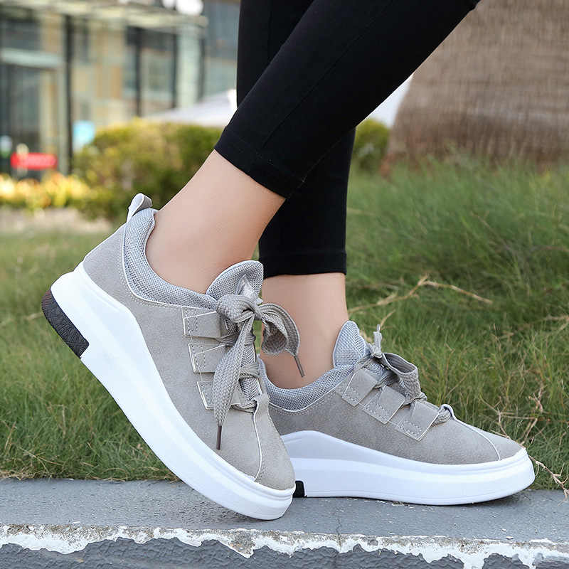 Platform Shoes Sneakers Women Tenis Feminino Vulcanized Shoes Trainers Women  Flats Lace Up Breathable Zapatillas Mujer 75112572fa53