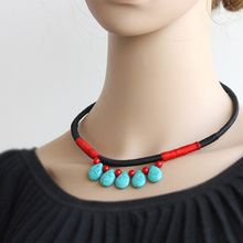 Pure Handmade Exotic Jewelry statement peacock torquoies necklace ,New  Ethnic Chinese wind national flavor necklace