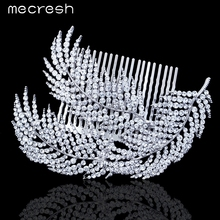 Mecresh Feather Shape Crystal Wedding Hair Accessories Silver Color Rhinestone Bridal Hair Combs Hairpin FS055