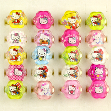 Wholesale lots mixed 100pcs Lovely Children/Kids Animation Cartoon Hello Kitty KT Cat Acrylic Lucite Resin Rings Jewelry Store