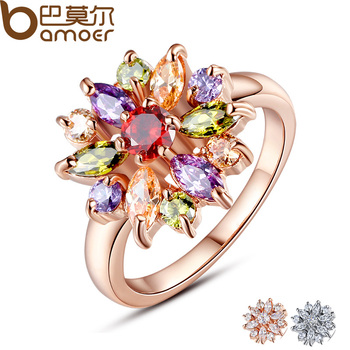 BAMOER 3 Цвета Роуз Позолоченные Палец Кольцо для Женщин с ААА Многоцветный Кубического Циркония Свадебные Berloque #6 7 8 9 JIR031