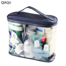 QIAQU Transparent Cosmetic Bags High Quality PVC Makeup Bags Travel Organizer Necessary Beauty Case Toiletry Bath Make up Box(China)