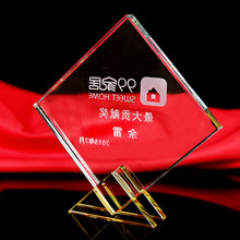Sports Event Crystal Trophy 2 Colors Customized Matches Awards Square Statue Ornaments For Gifts Home Decoration(China)