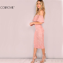 COLROVIE Woman Party dresses Elegant Evening Sexy Club Dresses Backless Midi Pink Faux Suede Off The Shoulder Ruffle Dress(China)