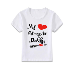 white summer kids shirt my heart belong to daddy toddler top funny children short sleeve clothing