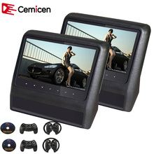 Cemicen 2PCS 9 Inch Car Headrest Monitor Video DVD Player with USB/SD LCD Screen Backseat Displayer IR/FM Transmitter Remote(China)