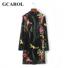 GCAROL New Arrival Digital Floral Velvet Dress Soft Hand Cheongsam Vintage Sexy Dress Bodycon Dress For Spring Fall Winter