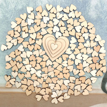 100Pcs 4Sizes Mixed Wood Wooden Love Heart Wedding Table Scatter Decor DIY Craft