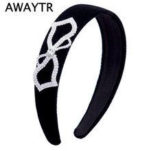 2017 Women Wide Headband Hair Accessories Heart Shaped Bow Flannel Head Band Girls Headdress Hoop Black Hairbands for Women