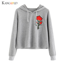Sweatshirt Women Long Sleeve Hooded Sweet Girl Rose Print Hoodies Causal with hat Hoodie Pullover Blouse gray Pullovers sp15a(China)