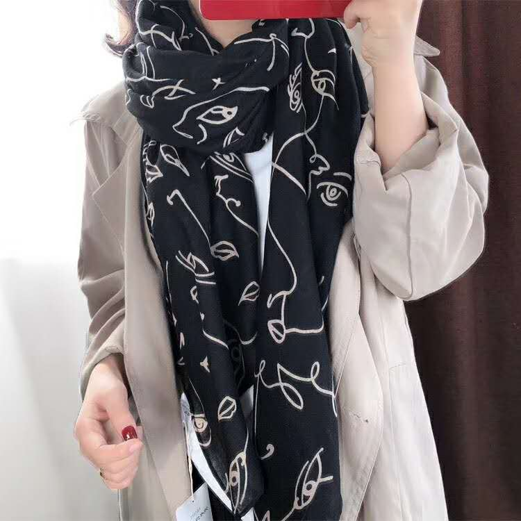 2019 Beautiful Geometry Print Scarves Shawls Cotton Eyes Print Cotton Scarf Hijab Wrap Muffler Wholesale 10pcs/lot Free Shipping