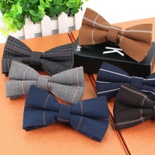 Fashion Men's Adjustable Cotton Bowtie Boys Childrens Plaid Striped Solid butterfly Bow Tie Holiday Prom Party Gift Accessories(China)
