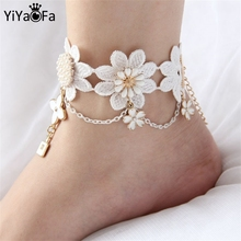 YiYaoFa Handmade Gothic Jewelry White Lace women's Anklets Women Accessories Vintage Foot Jewelry LA-07(China)