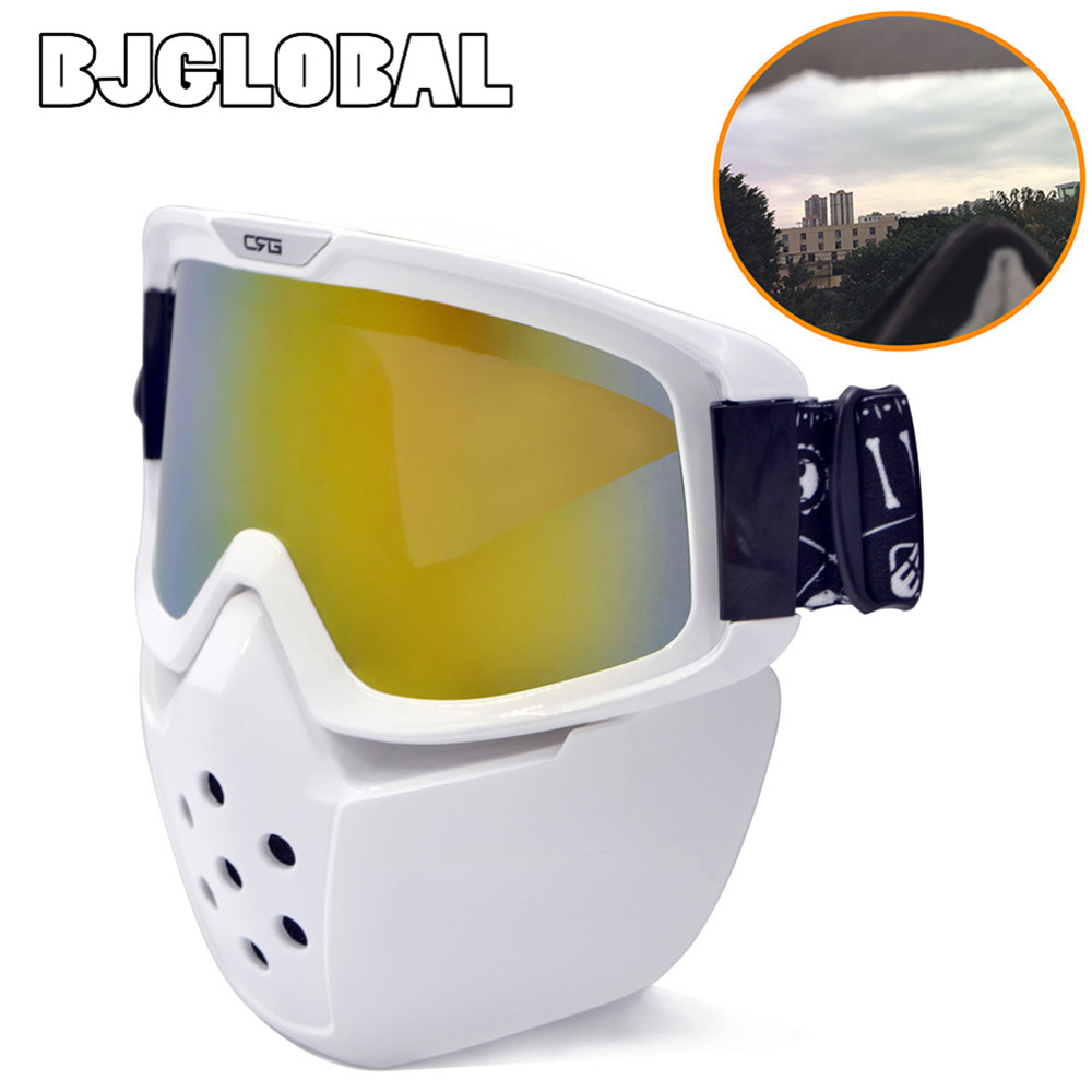 BJGLOBAL 2018 Double foam Detachable Modular Motorcycle Riding Helmet Goggles Shield Nose Face Mask For Moto Helmets