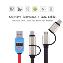 2 in 1 protection Fast Charging Sync Data Smart LED USB Cable For Android Phone For iPhone 5 6 5s 6s 6p 7 7s to Samsung X142