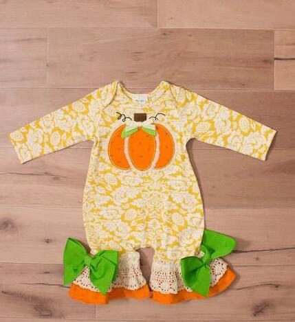 Halloween Wholesale Baby Jumpsuits Newborn Kintting Romper Pumpkin Pattern Fall Baby Girl Ruffle Clothes Bow R010