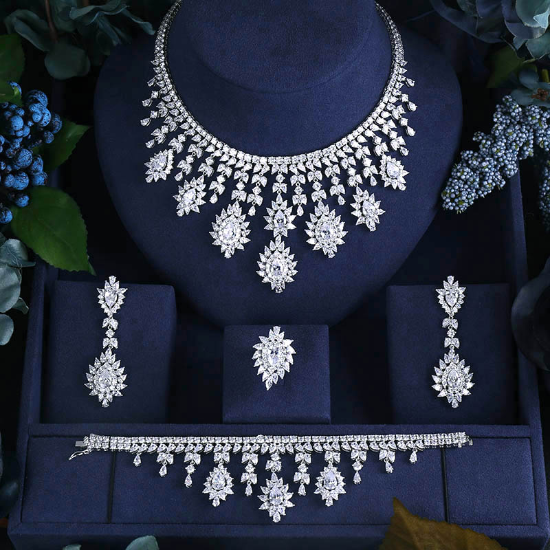 BRILLIANT CRYSTAL ZIRCON EARRINGS AND NECKLACE BRACELET RINGS FULL SET JEWELRY SET WEDDING DRESS ACCESSARIES