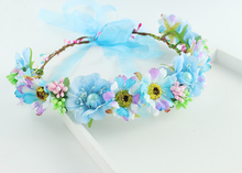 Flowers crown headband hair band headdress wreath wedding festival light blue fascinator wedding garland festival beach(China)