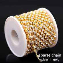 1/10yard ss6/8/10/12/14/16/18/28/38 Crystal clear Rhinestone Cup Gold sparse claw Chain necklace trim sewing Jewelry Craft 1-Row(China)