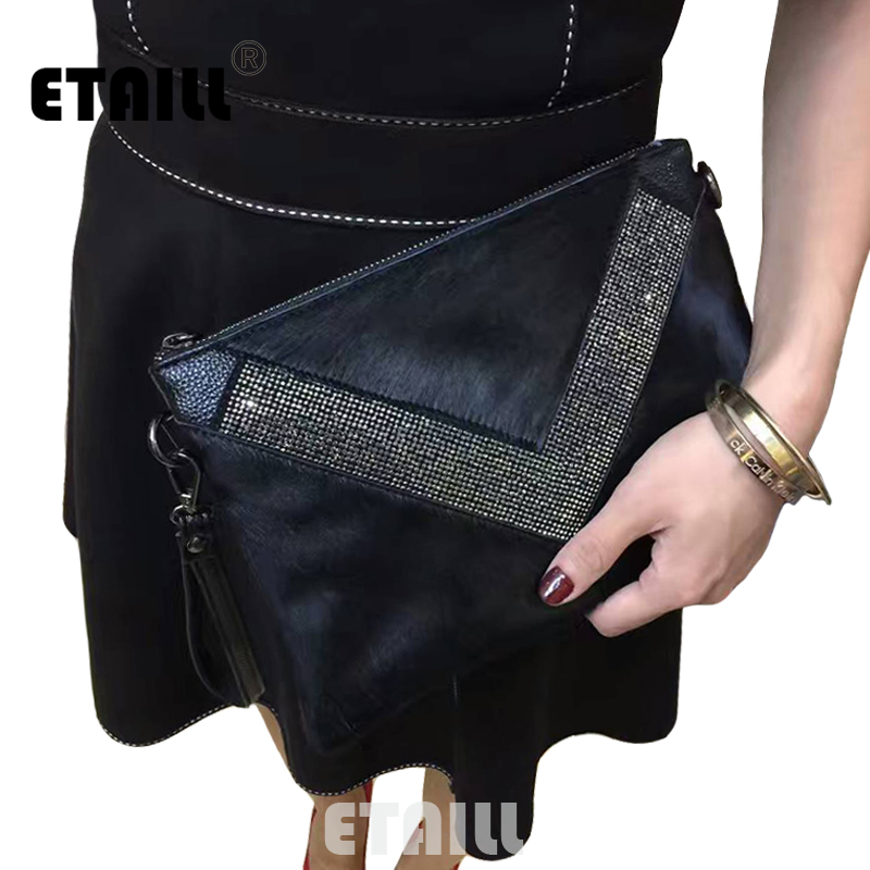 Horsehair+Real Leather Diamond Clutch Evening Bags Crystal Rhinestone Evening Purse Designer Brand Envelope Women Messenger Bag<br>