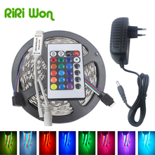 5m LED Strip Light RGB 5050 RGB LED DC12V smd 2835 Strip RGB strip Flexible+Power Adapter AC110v/240v Controller Led Strip Kit