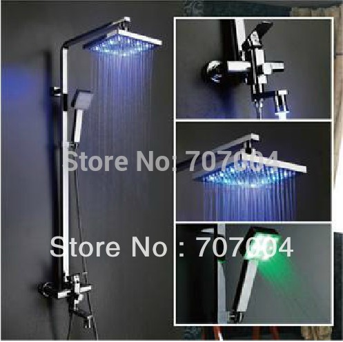 Polished Chrome 3-way Square LED Wall Mount Rainfall Shower Faucets + 8 led Shower Head + led handheld shower + led tub spout<br><br>Aliexpress