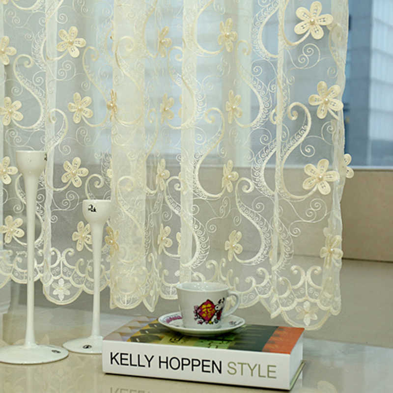 Luxury European Embroidered Pearl Flower Blue Tulle Drapes For Living Room Beige Velvet Blackout Red Curtains For Bedroom WP2902