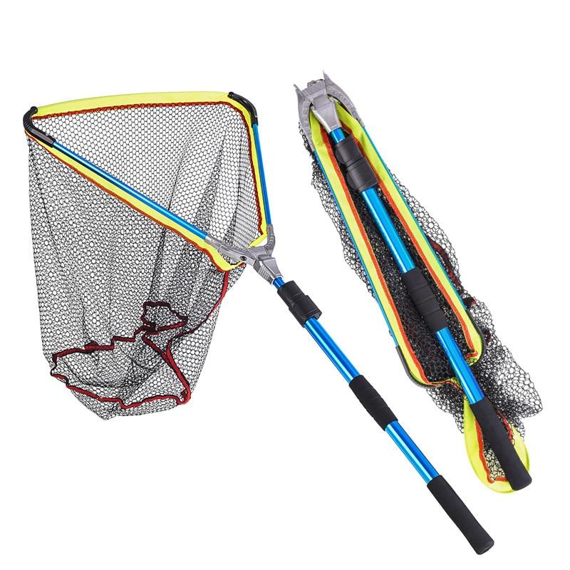 Telescopic Fishing Landing Net Rod Adjustable Foldable Pole Fish Catch /& Release