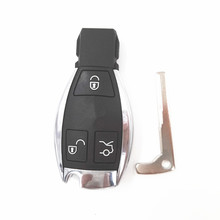 3 Buttons Smart Remote Key Shell Replacement Fob Case for Benz MB with the Board Plastic Battery Holder & Logo