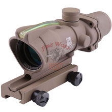 Outdoor sports Trijicon ACOG 4X32 Tan Fiber Source Green Illuminated Scope Tactical Hunting Riflescope free transport