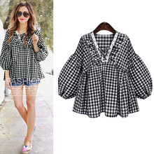 2017 autumn and winter new Europe and the United States fat mm large yards loose plaid lantern shirt Women's Clothing