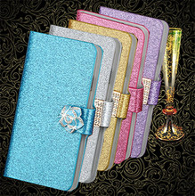 New Fashion Luxury Glitter Diamond Flower Leather Case For Apple iPod Touch 4 5 6 Bling Cover Wallet Stand Flip Phone Bag Covers