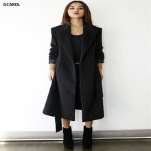 GCAROL Women Elegant Fashion Long Overcoat With Sashes V-Neck Fashion OL Work Wear Elegant XL Coat Spring Autumn Winter Coat