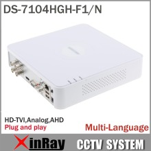 Multilanguage HIK DS-7104HGH-F1/N 720P 4CH Turbo XVR DVR Support HD TVI Analog AHD Camera