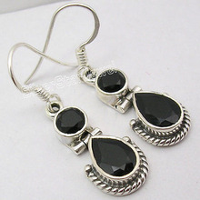 Silver Collectible BLACK ONYX Gem INDIAN JEWELLERS Earrings 3.3 CM