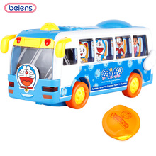 Beiens Doraemon Original Huile Toys Kids Toy Electric Shaking Musical School Bus With Flashing Lights, Bump and Go Car Baby Toys