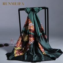 [RUNMEIFA]2017 new Silk Square Big Size Scarf Women Fashion High Quality Cheap Imitated Silk Satin Scarves Polyester Shawl Hijab