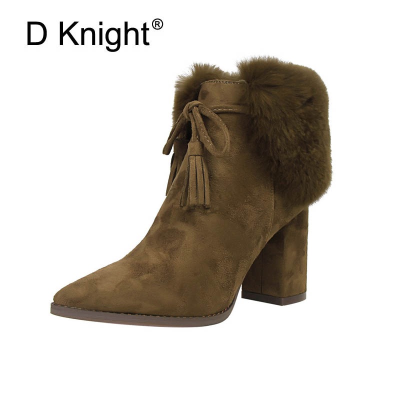 New Women Casual High Heels Winter Ankle Boots Fashion Pointed Toe Fur Decoration Thick Heels Warm Boots Ladies Tassel Boots<br>