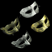 5pcs/lot Retro Mens Woman Venetian Halloween Masquerade Party Masks Antique Silver Gold Half Face Mask Dance Party Costume Ball(China)