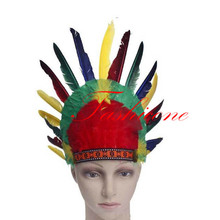 New Style Colorful Headband Headdress Warbonnet Kit Feather War Bonnet Indian Native American Hair Decor(China)