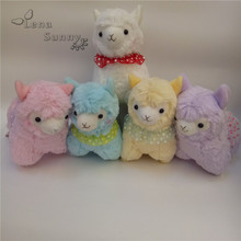 10pc/Lot Mixed Color 17cm Japanese Silk Scarf Alpacasso Plush Toy, Kids Alpaca Christmas Gifts Toy 5 Colors Mixed